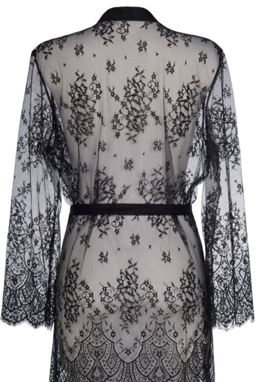 Mandy Lace Robe Black