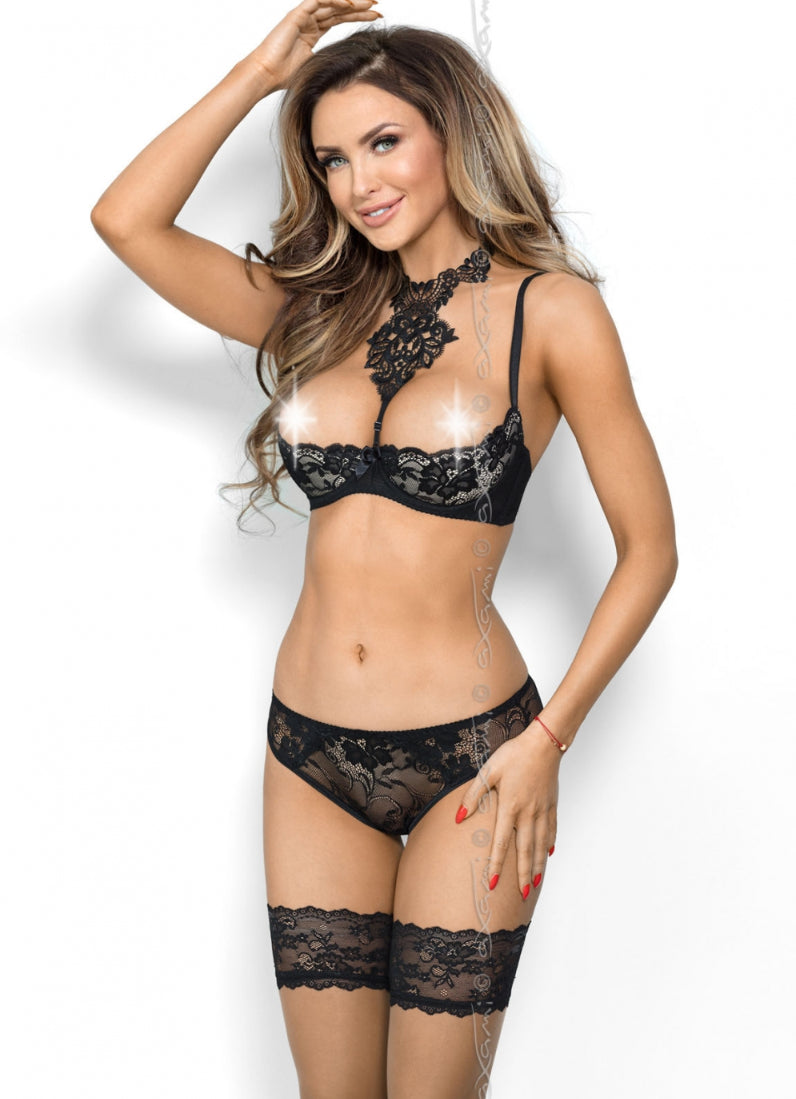 Castle In The Sky Quarter Cup Bra Black V8241