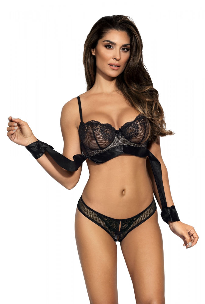 Sevilla Hand Tie Ribbon Soft Bra Black V8891