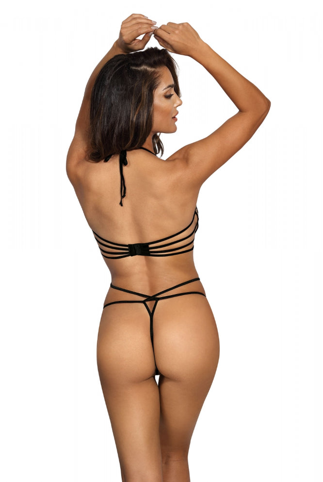 Sevilla Bodysuit Mesh Cross Front Black V8870