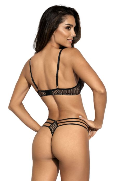 Seductive Woman Net String Black & Beige V9048