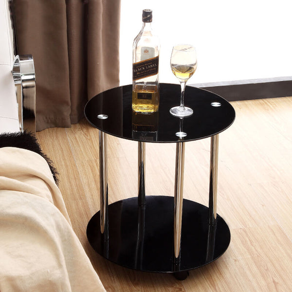 Black Round Glass Coffee Table Side End Lamp Table With Wheels