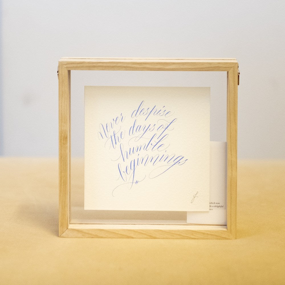"Framed Calligraphy Artwork in ""Humble Beginnings"" by The Letter J Supply"