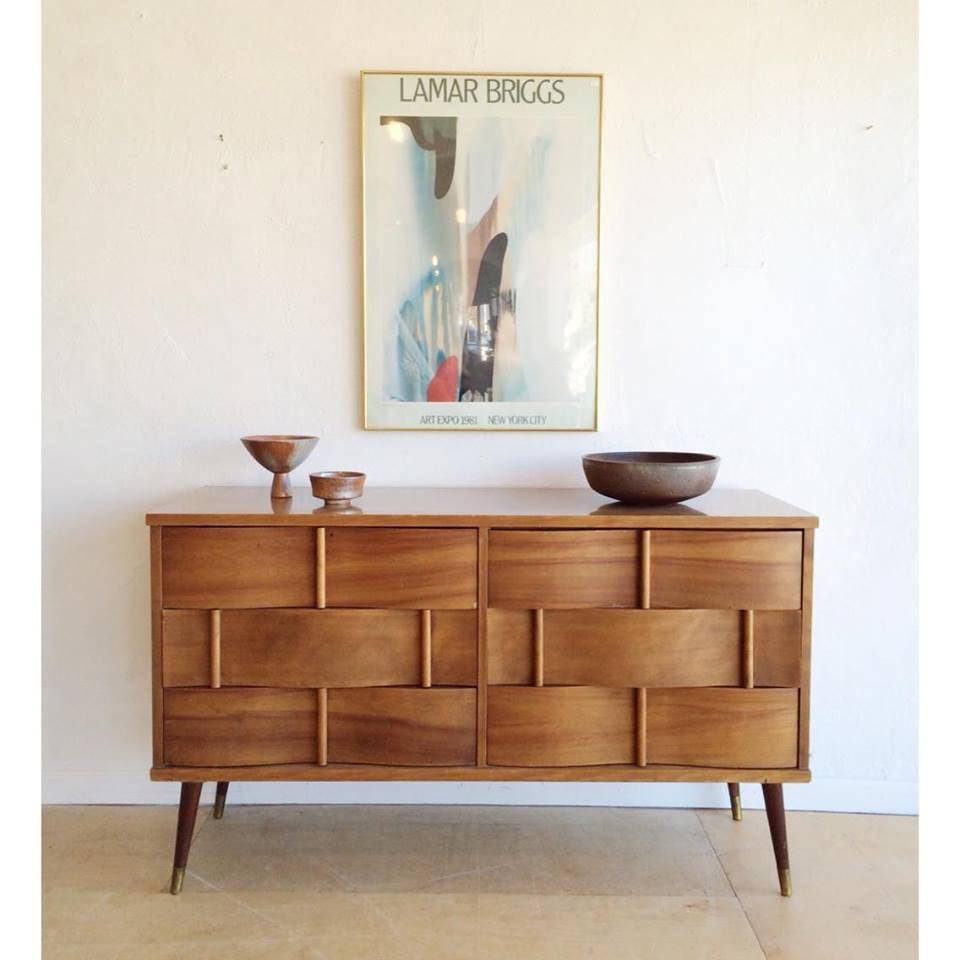 Mid-Century Long & Low Woven Front Dresser