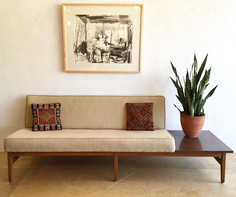 Mid-century sofa with integrated table