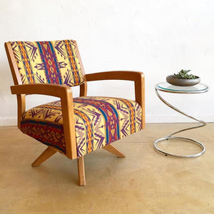 Mid Century Swivel Rocker Lounge Chair in Pendleton wool