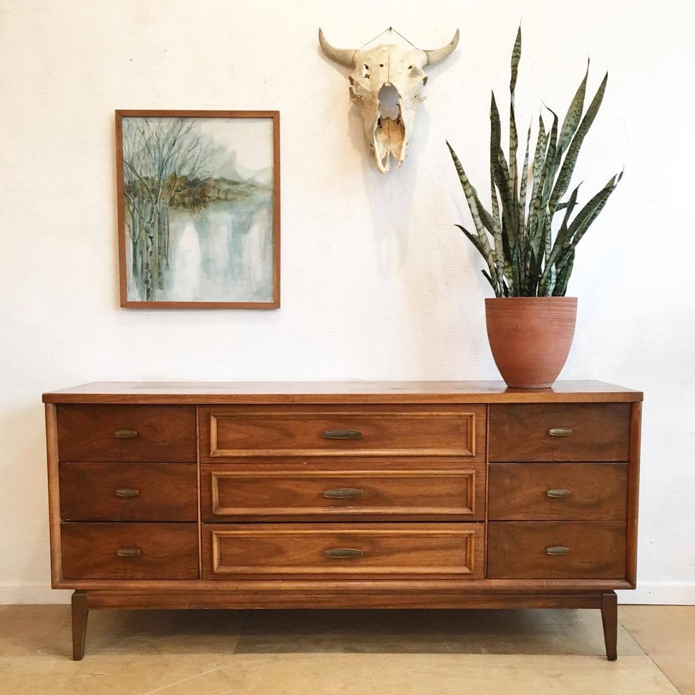 Mid-Century Long Low Nine Drawer Dresser