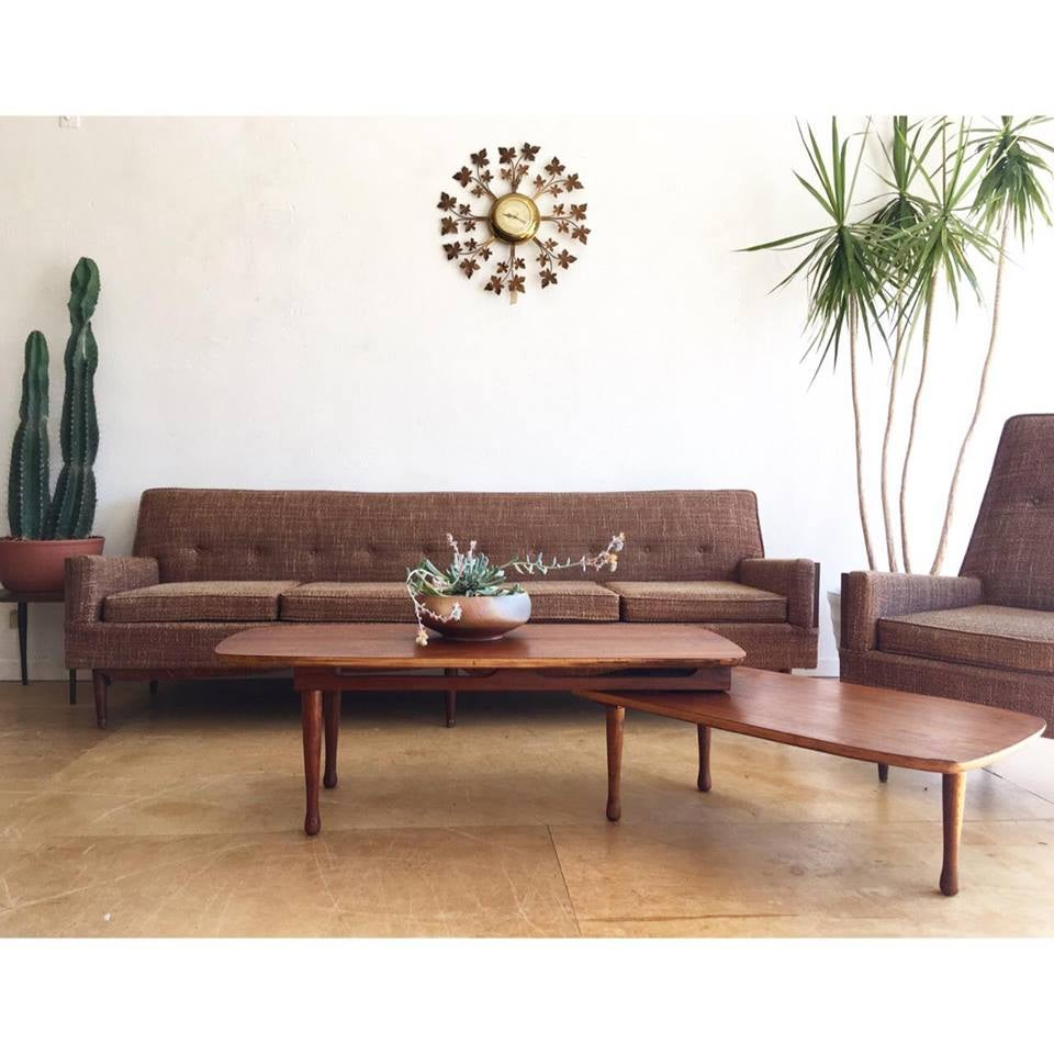 Mid-Century Sofa & Chair Set in Brown