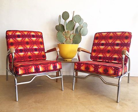 Set of 1950's Chrome Lounge Chairs in Pendleton Wool