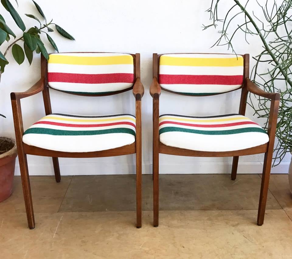 Vintage Gunlocke Arm Chairs in Pendleton Wool