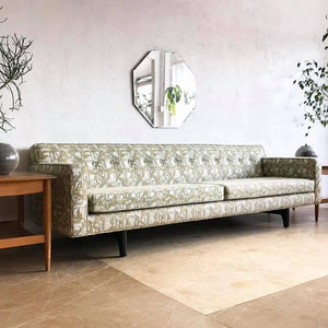 Mid-Century Embroidered Sofa in Green