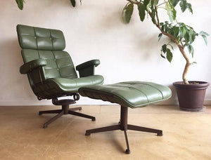 Mid-Century Lounge Chair & Ottoman in Green