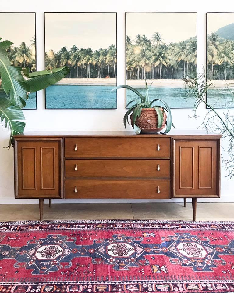 Long & Low Mid-Century Wood Top Dresser