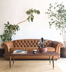 Vintage Chesterfield Style Leatherette Sofa
