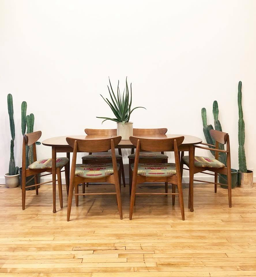 Mid-Century Dining Set w/ Six Chairs in Pendleton Upholstery