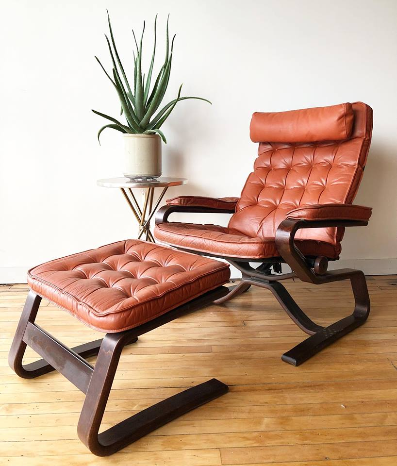 Vintage Norwegian Leather Lounge Chair & Ottoman
