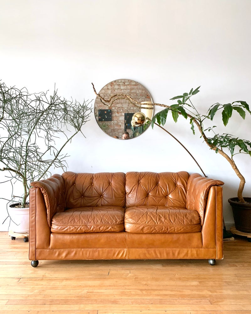 Mid-Century Leather Tufted Sofa