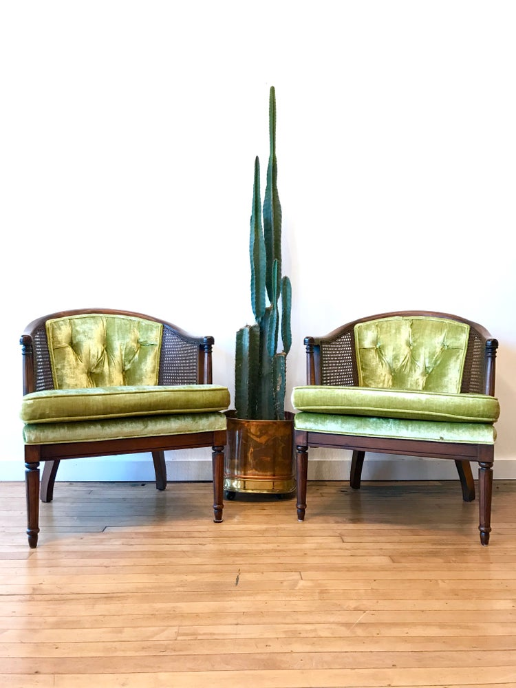 Vintage Cane Chairs in Green