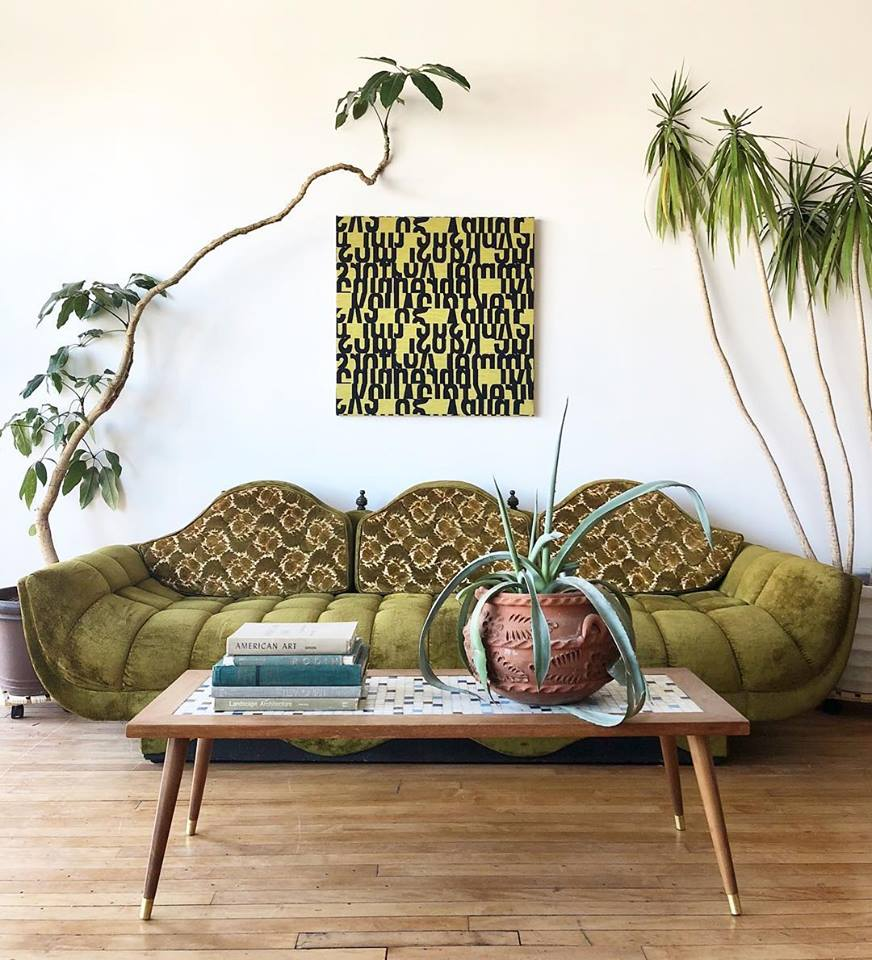 Vintage 1960's Moroccan Style Sofa in Green