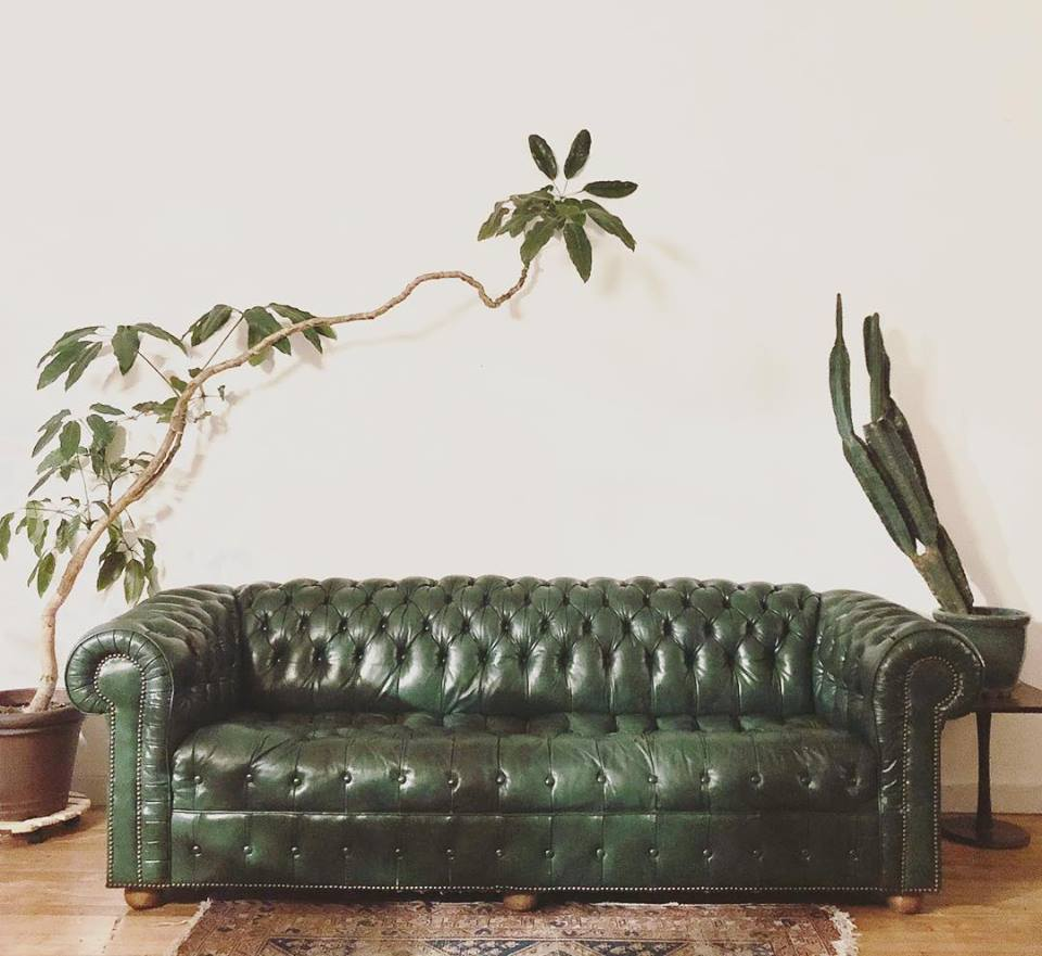 Mid-Century Green Leather Sofa by Chesterfield