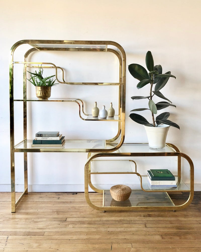 Mid-Century Large Glass & Brass Shelving Unit