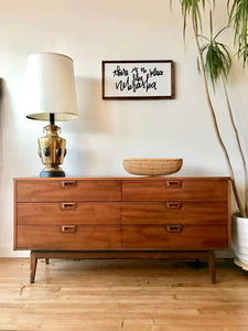 Mid-Century Long Low Six Drawer Dresser