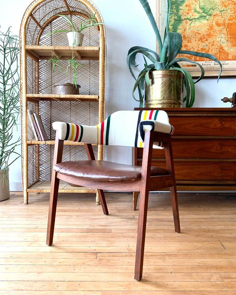 Mid-Century Arm Chair in Pendleton Wool