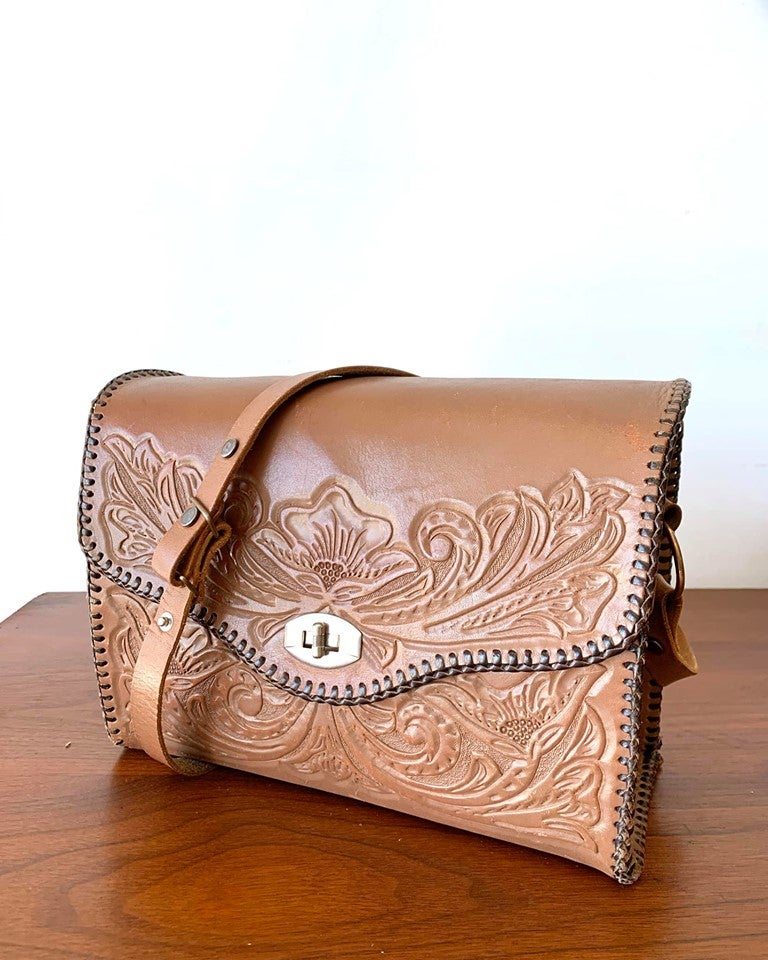 Leather Embossed Cross Body Bag