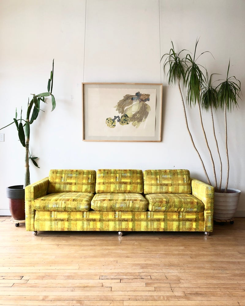 Mid-Century Plaid Sofa in Yellow