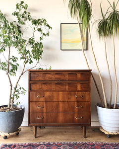 Mid-Century Wood Top Five Drawer Dresser