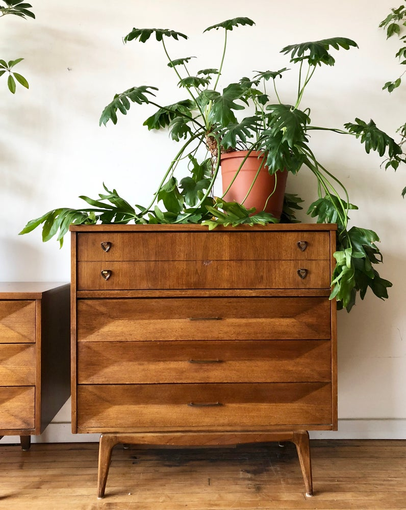 Mid-Century Wood Top Four Drawer Dresser