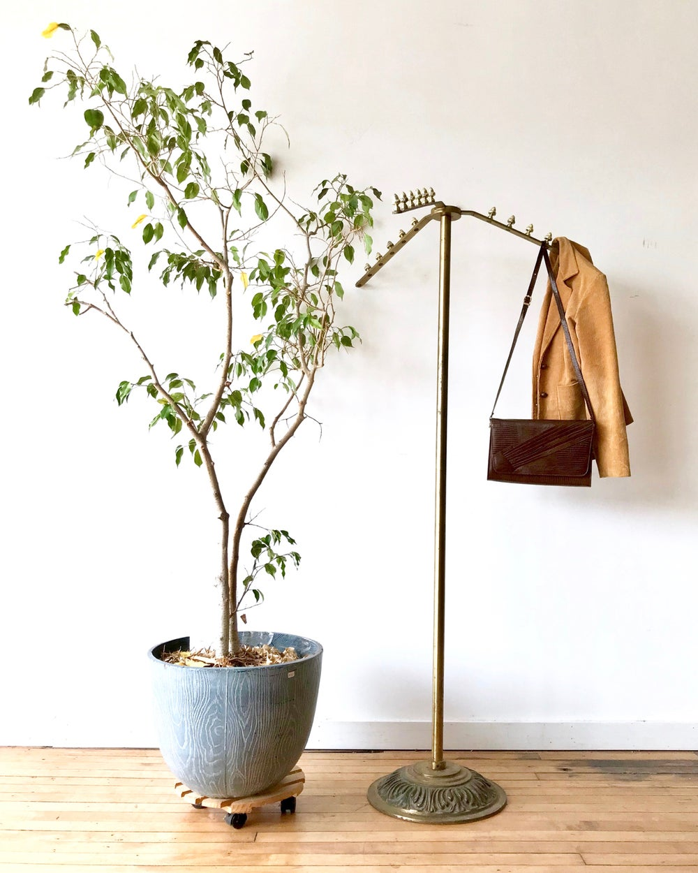Vintage Brass Finish Hall Tree