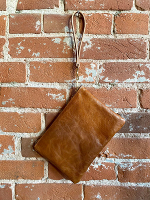 The Carder Clutch in Leather & Pendleton Wool