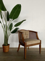 Vintage Velvet and Cane Chair