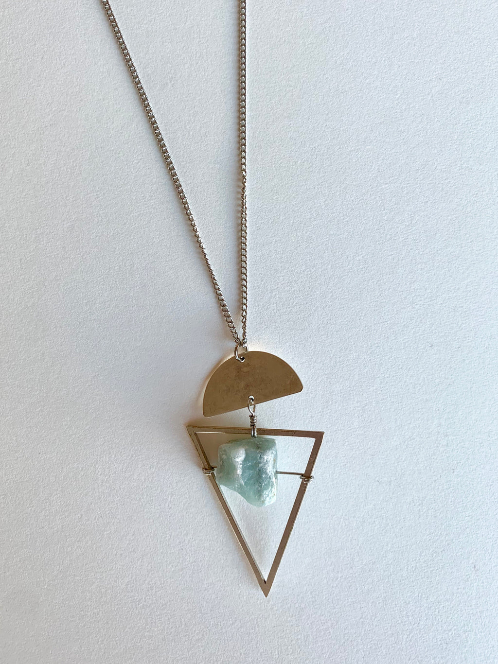 Rough Amazonite Necklace in Gold