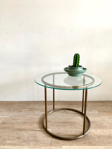 Vintage Brass Tube Small Table