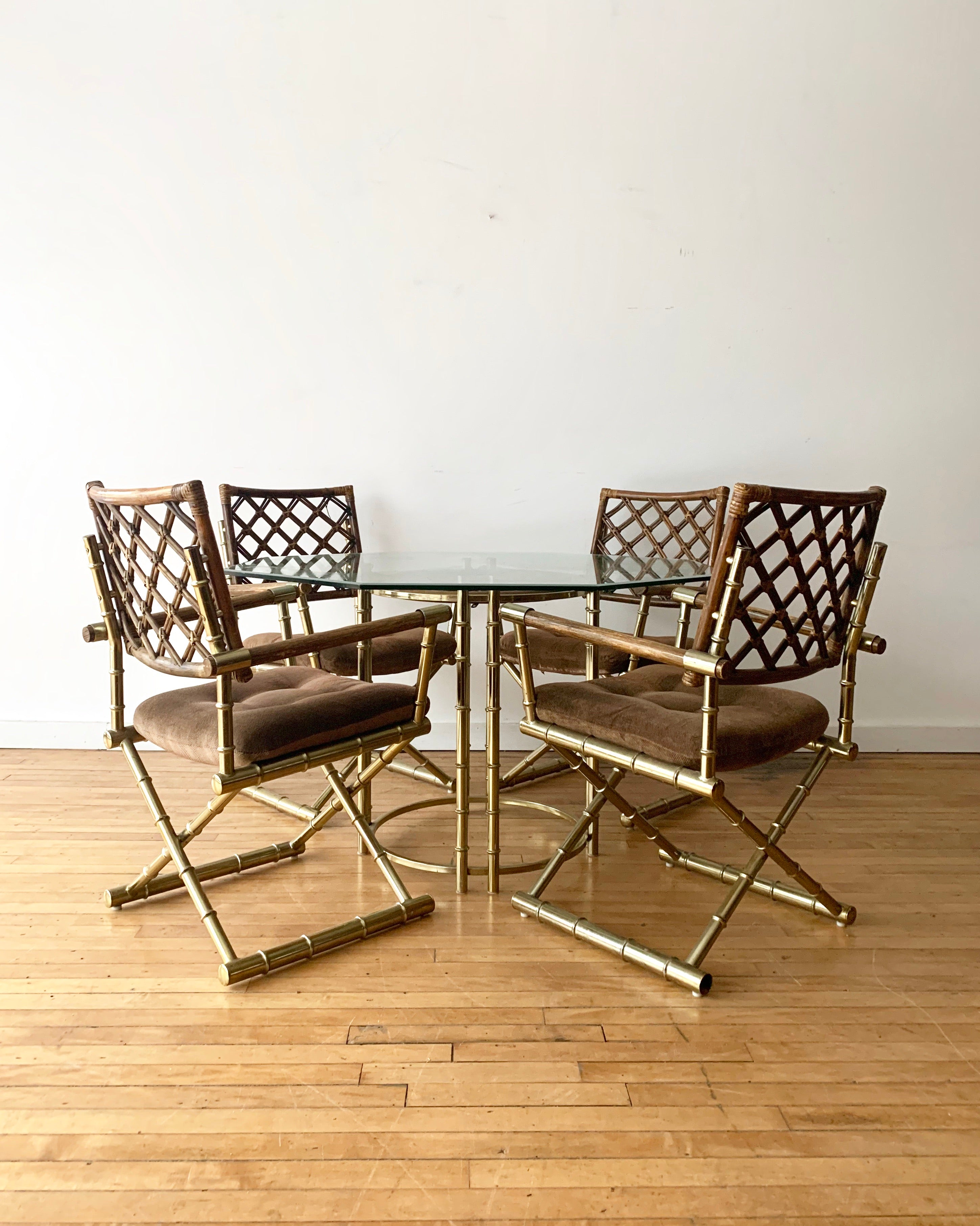 Vintage Bamboo & Brass Dining Set
