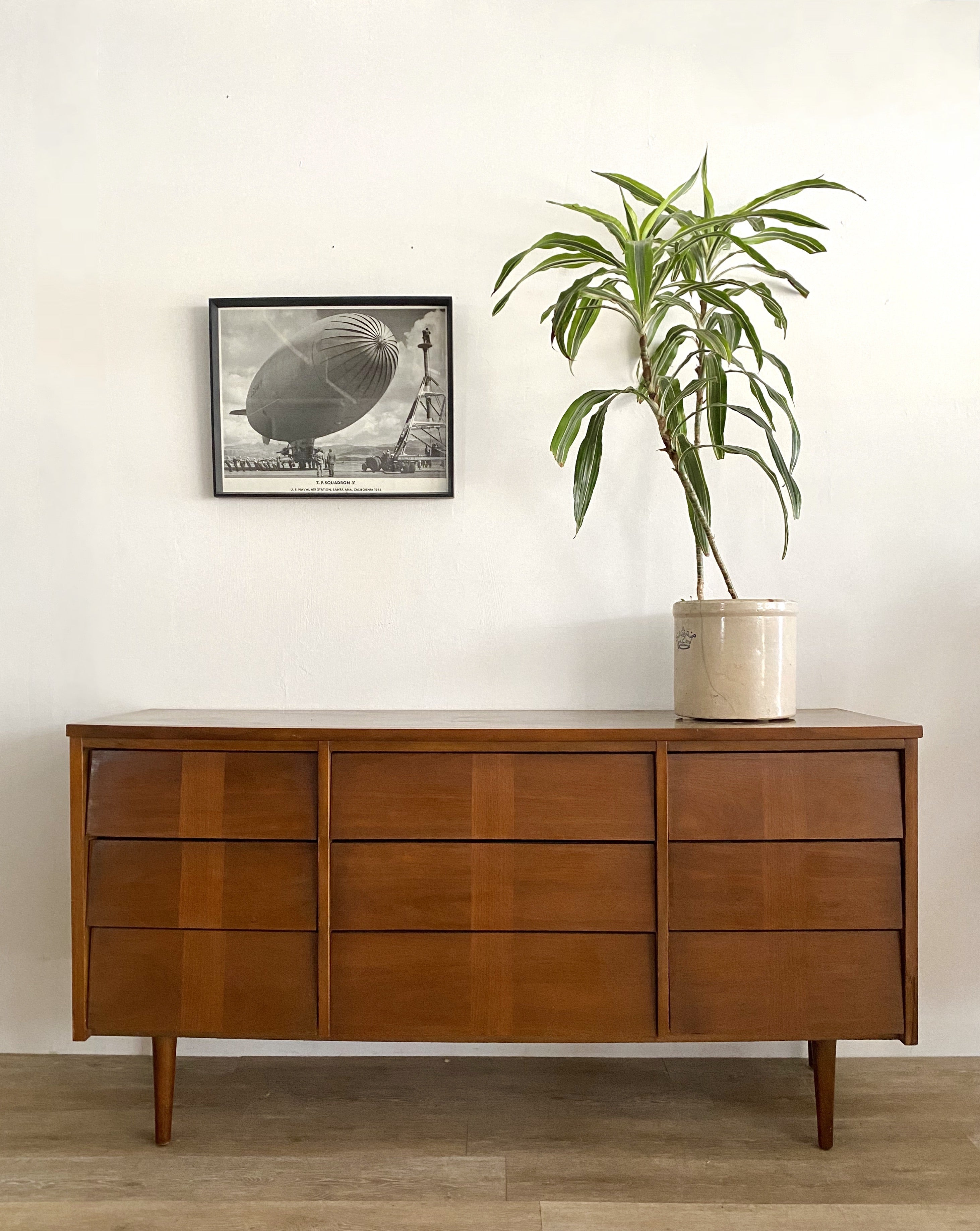 Mid-Century Nine Drawer Dresser with Inlay