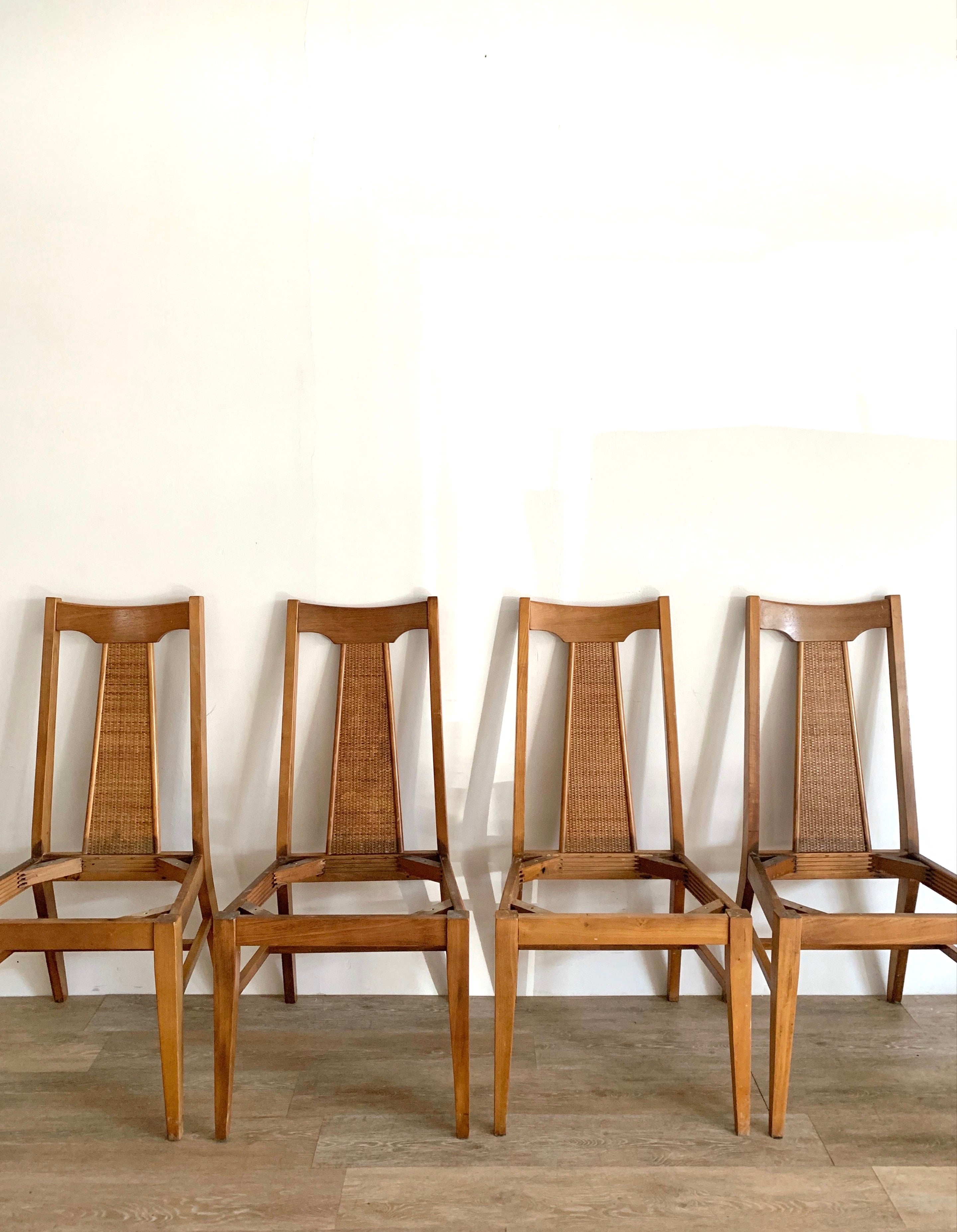 Set of Four Caned Mid Century Chairs in Your Choice of Fabric