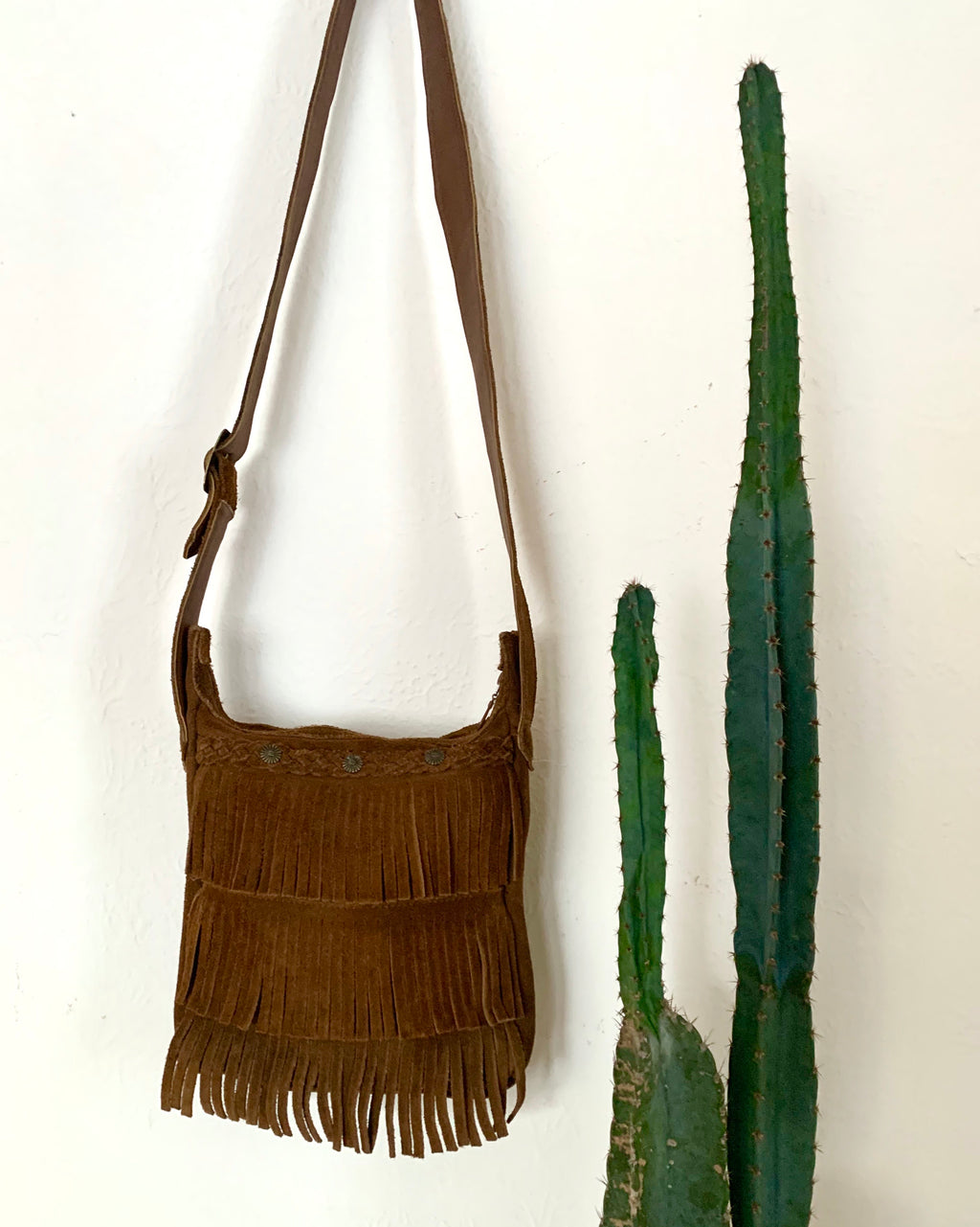 Vintage Suede Leather Crossbody with Fringe