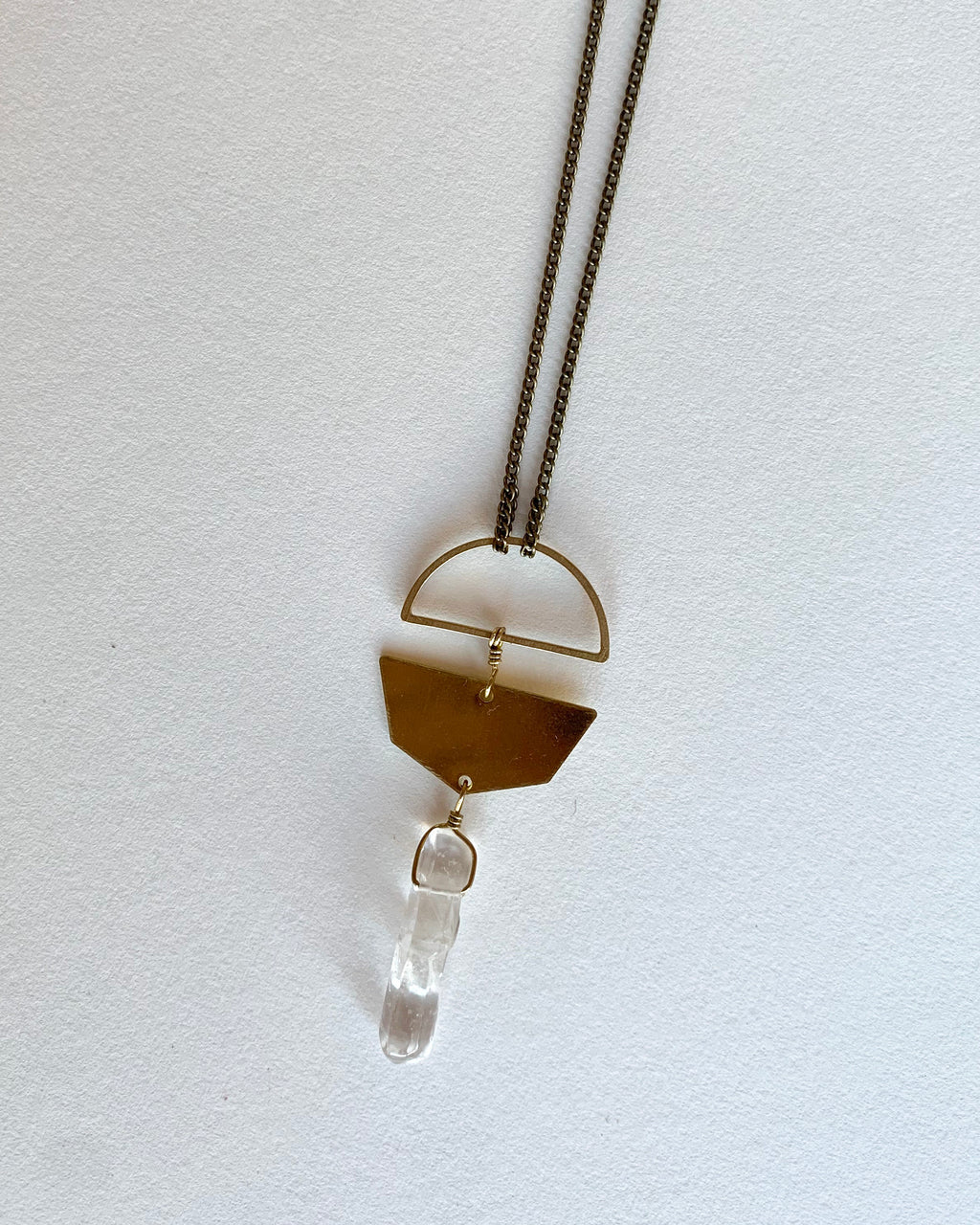 Crystal Quartz Necklace in Gold