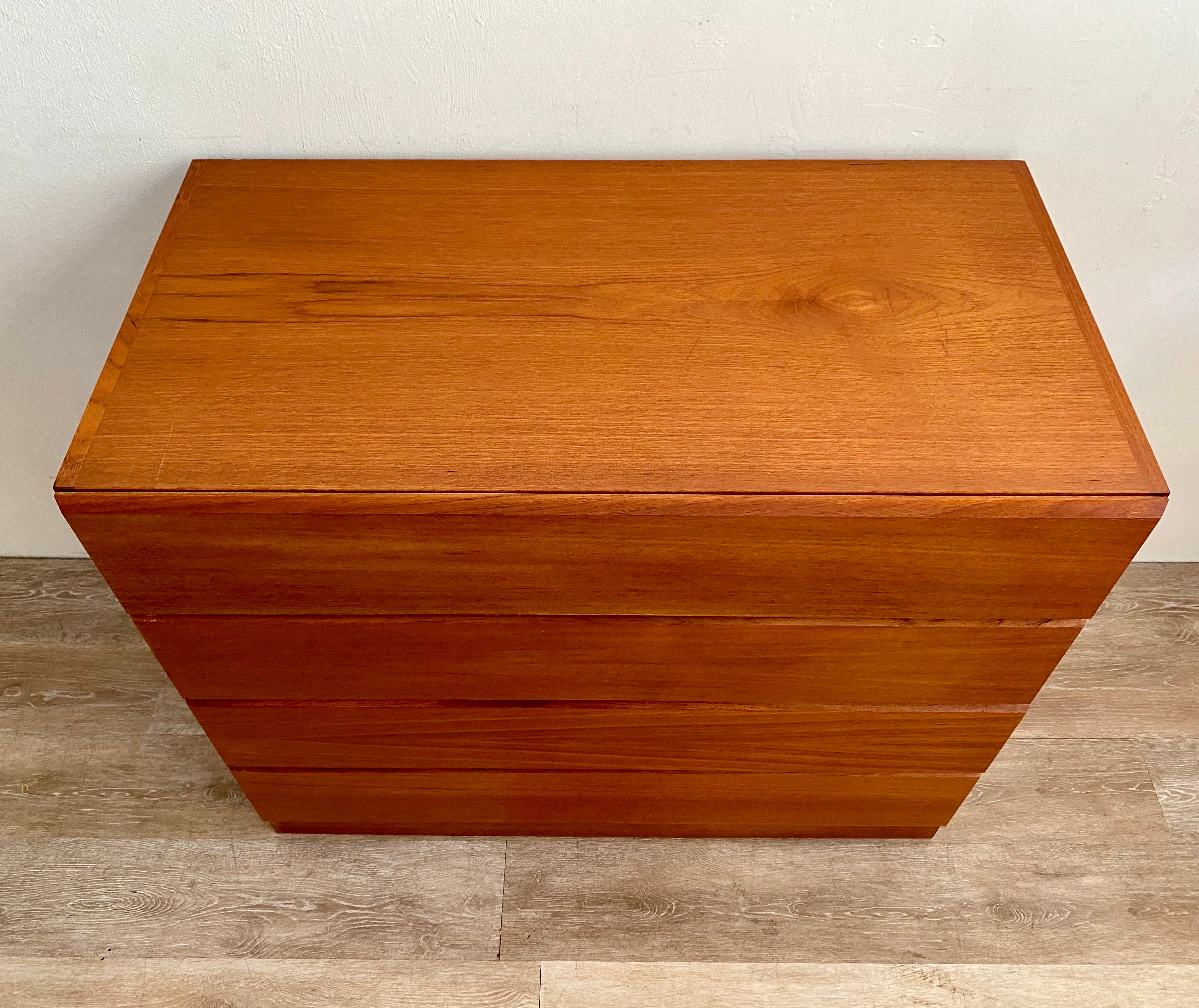 Vintage Teak Four Drawer Dresser