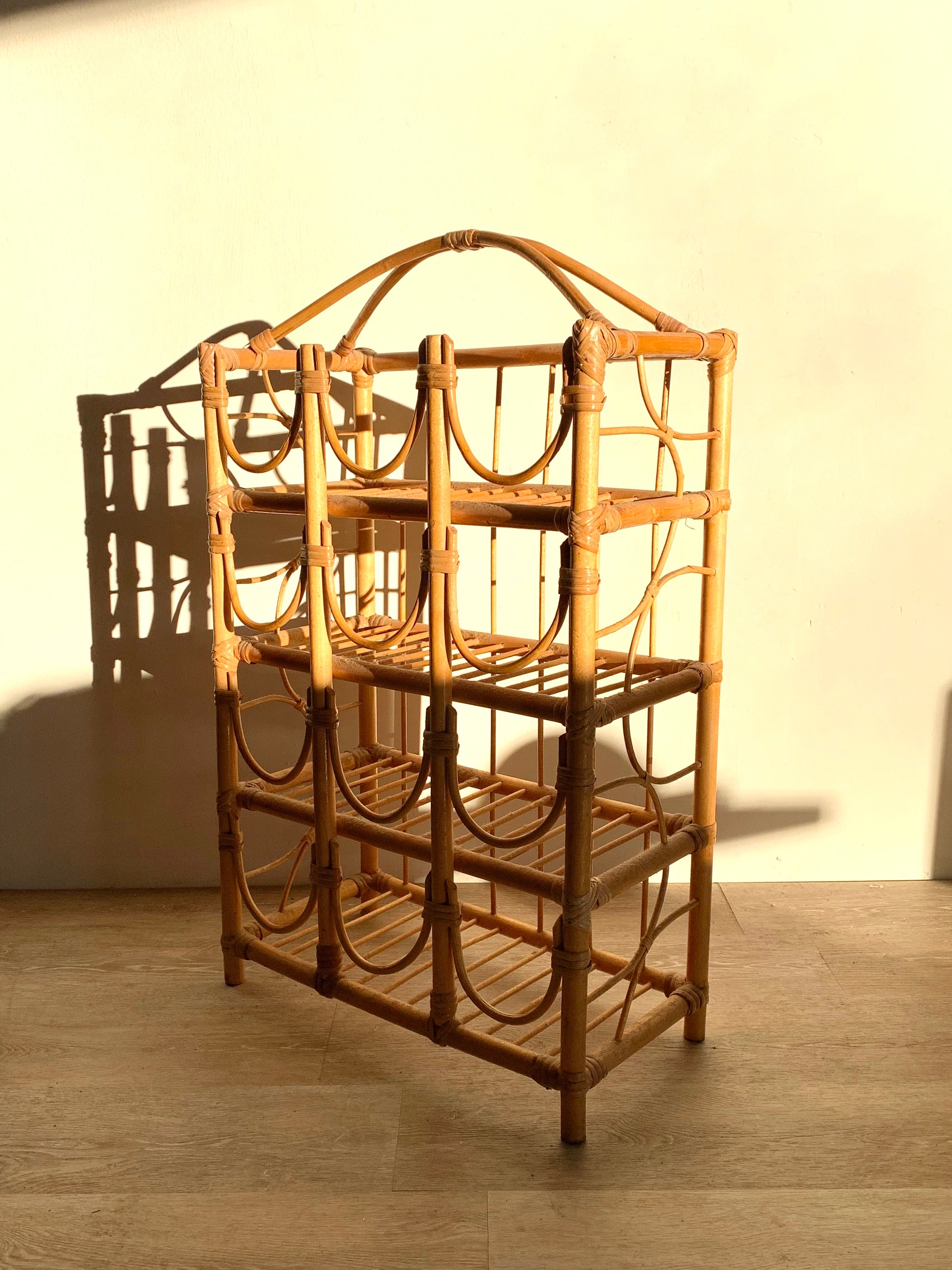 Large Vintage Rattan Wine Rack