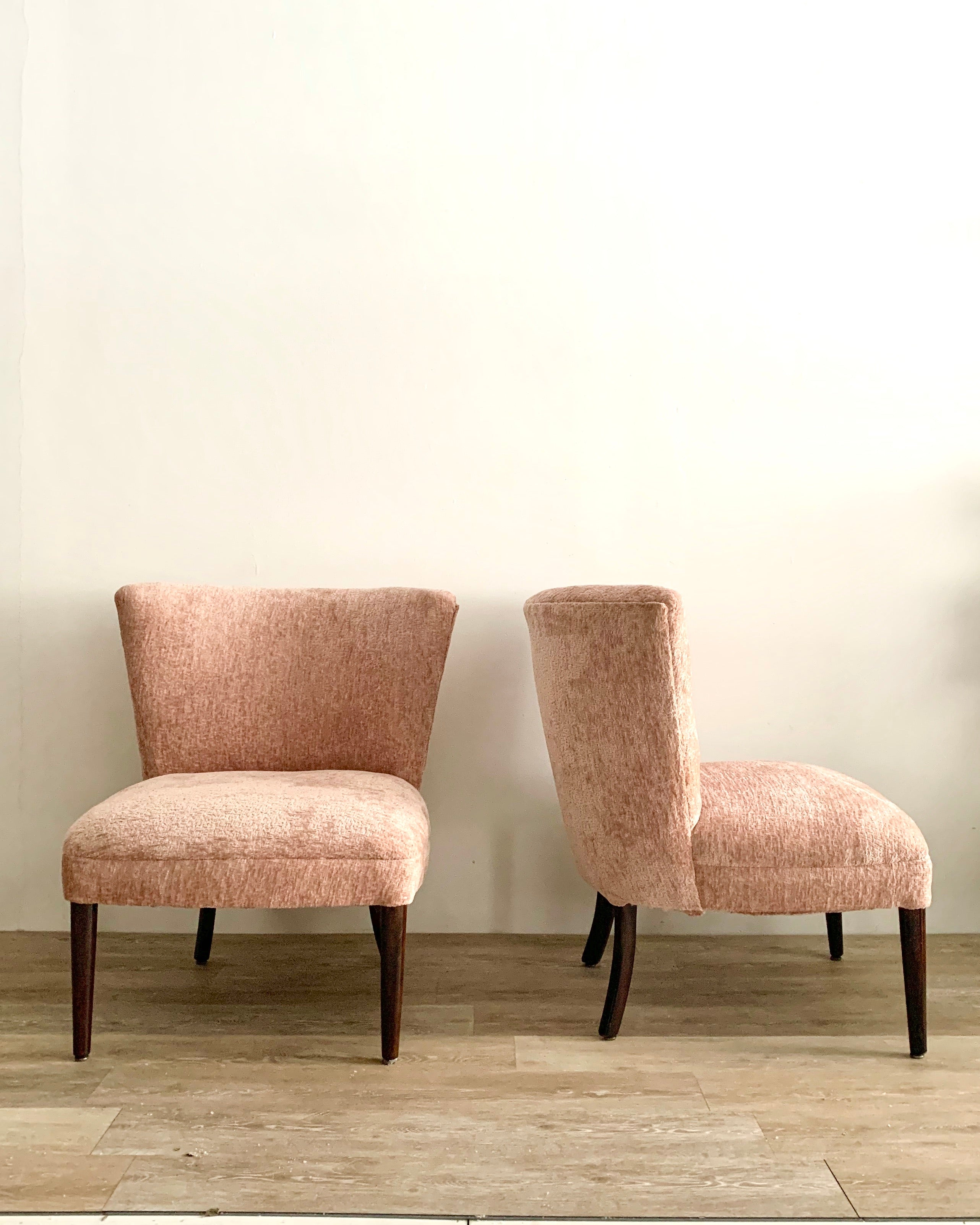 Vintage Slipper Chair Freshly Upholstered in Blush Chenille