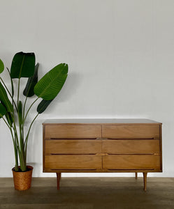 Mid-Century Six Drawer Dresser with Wood Top