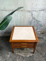 Mid-Century End Table / Nightstand with Travertine Top