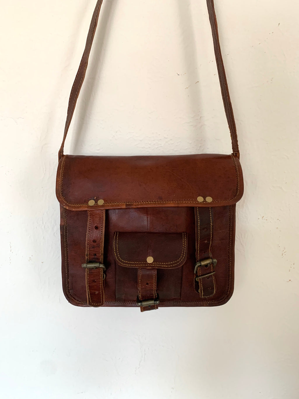 Large Vintage Leather Crossbody Bag