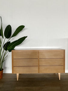 Mid-Century Six Drawer Dresser in Light Wood
