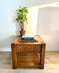 Large Vintage Side Table with Glass Insert