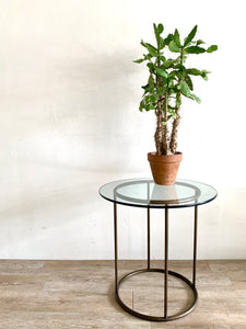 Brass Tube End Table with Glass Top